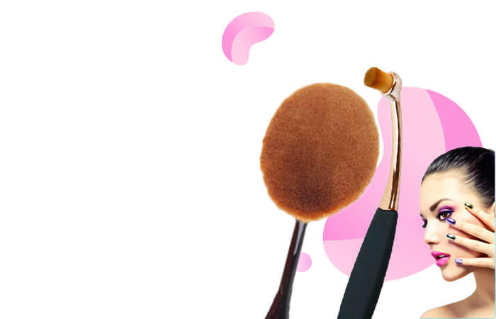 Kuas Kosmetik Make Up Oval Brush Wajah 10 PCS