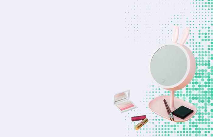 Cermin Makeup dengan Lampu LED Ring Light Model Rabbit