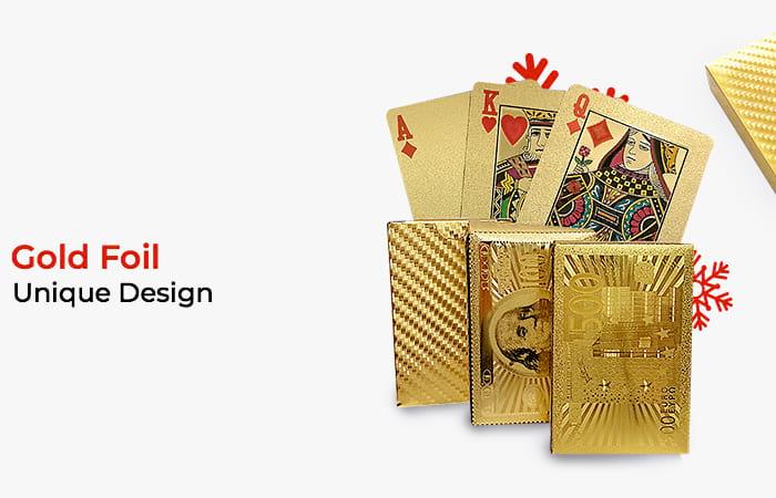 Kartu Remi Poker Lapisan Gold Foil Motif Dollar