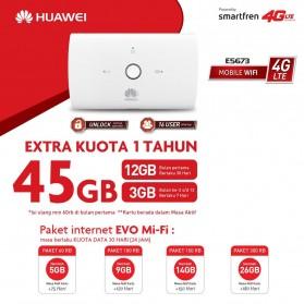 Huawei E5673 Modem 4G Mifi Bundling Smartfren 45GB - White - 2