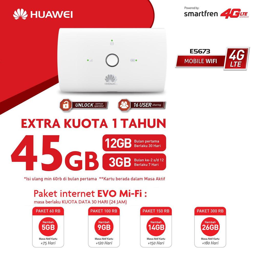 Huawei E5673 Modem 4g Mifi Bundling Smartfren 45gb White