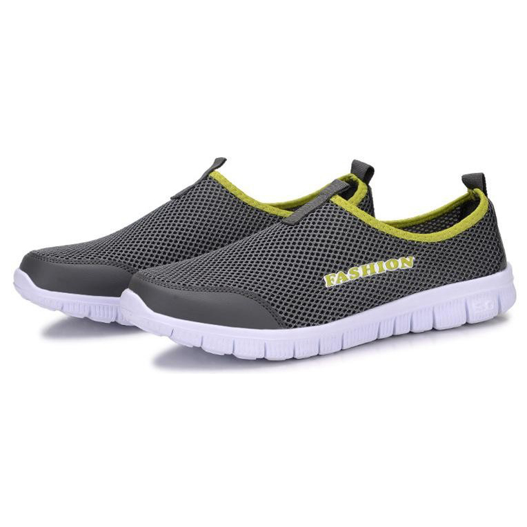 Sepatu Slip On Kasual Pria Size 44 - Dark Gray - 1 .