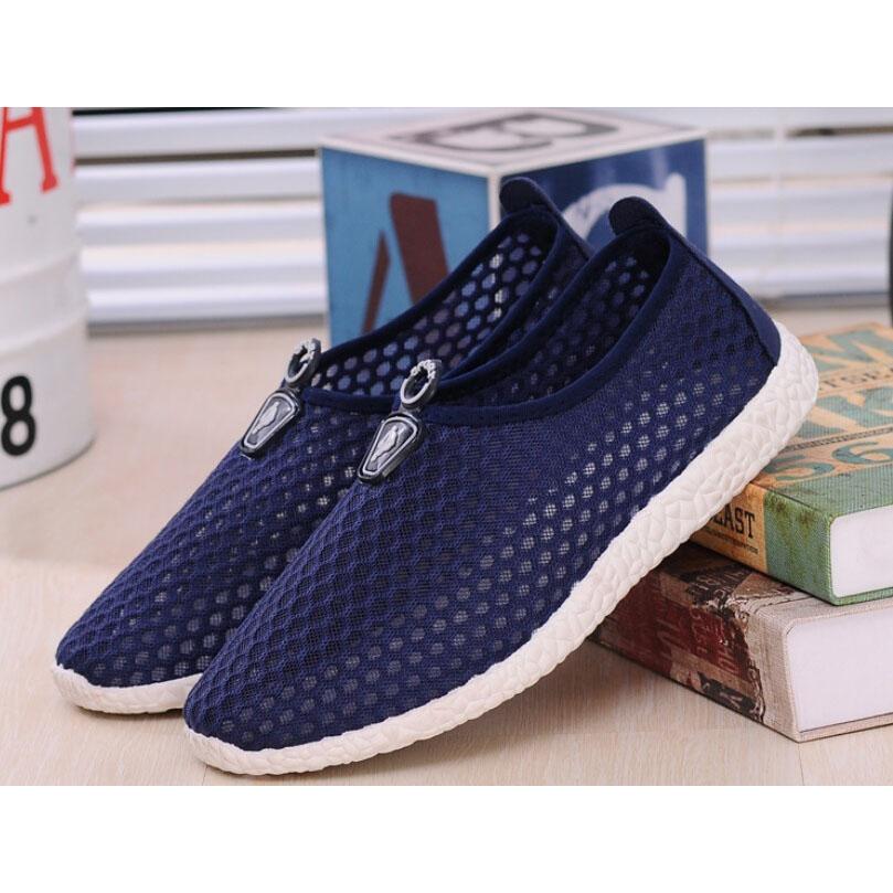 Sepatu Slip On Mesh Kasual Pria Size 42 - Dark Blue - 5 .