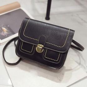 Tas Selempang Korean Retro Style Messenger Bag - JM1541 - Black - 1