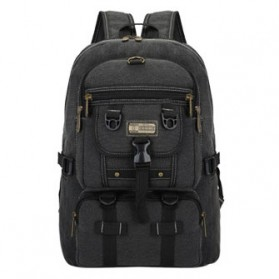Tas Ransel Canvas Retro Klasik Travel Bag - LD1009 - Black