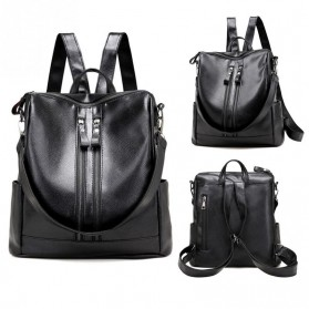Tas Ransel Kulit Hybrid Style Wanita - NINEFOX - Black - 2