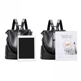 Tas Ransel Kulit Hybrid Style Wanita - NINEFOX - Black - 3