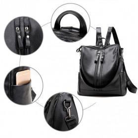 Tas Ransel Kulit Hybrid Style Wanita - NINEFOX - Black - 4