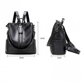 Tas Ransel Kulit Hybrid Style Wanita - NINEFOX - Black - 5
