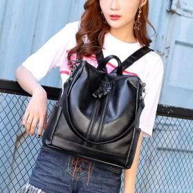 Tas Ransel Kulit Hybrid Style Wanita - NINEFOX - Black - 9