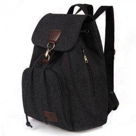 Tas Ransel Wanita School Canvas Backpack- FM021 - Black