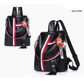 Tas Ransel Wanita Model Vintage Retro 2 Way Backpack - WANG149 - Black