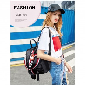 Tas Ransel Wanita Model Vintage Retro 2 Way Backpack - WANG149 - Black - 4