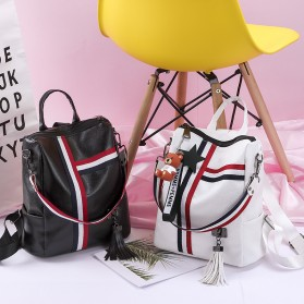 Tas Ransel Wanita Model Vintage Retro 2 Way Backpack - WANG149 - Black - 9