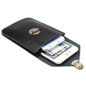 Fulaikate Dompet Tas Holster Smartphone 5.7 Inch Bahan Kulit - 271 - Black - 7