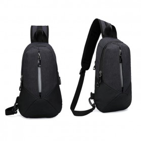 CLEVER BEES Tas Selempang Casual Chest Bag - L108 - Black - 2