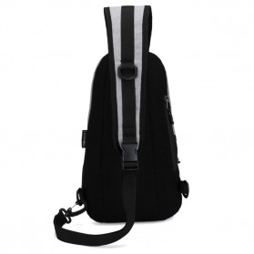 CLEVER BEES Tas Selempang Casual Chest Bag - L108 - Black - 7
