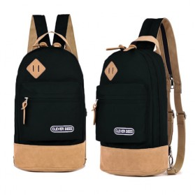 CLEVER BEES Tas Selempang Ransel Casual Chest Bag - L15 - Black