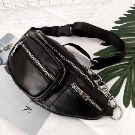 Xiniu Tas Pinggang Selempang Unisex Waistbag Bahan Kulit - 16464 - Black - 4