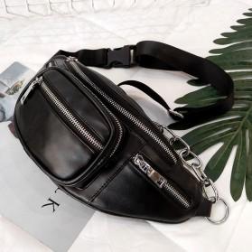 Xiniu Tas Pinggang Selempang Unisex Waistbag Bahan Kulit - 16464 - Black - 6