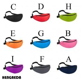 Hengreda Tas Pinggang Waist Bag Colorful Unisex Zipper Pouch Packs - B080 - Black - 5