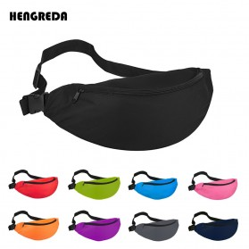 Hengreda Tas Pinggang Waist Bag Colorful Unisex Zipper Pouch Packs - B080 - Black - 6
