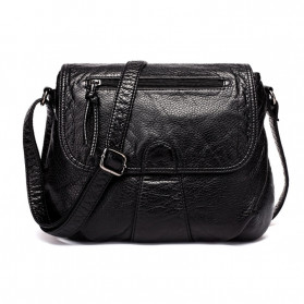 CmetNi Tas Selempang Wanita Messenger Bag PU Leather - 8362 - Black
