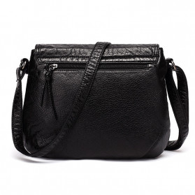 CmetNi Tas Selempang Wanita Messenger Bag PU Leather - 8362 - Black - 2