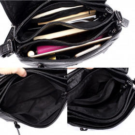 CmetNi Tas Selempang Wanita Messenger Bag PU Leather - 8362 - Black - 5