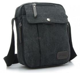 RuYiHuang Tas Selempang Messenger Bag Pria Bahan Canvas - LM0001 - Black