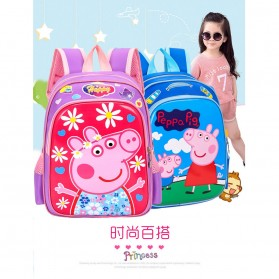 SUNEIGHT Tas Ransel Sekolah Anak Kartun Lucu Karakter Peppa Pig - B300-A - Blue - 6
