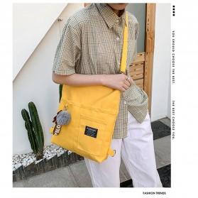 LKEEP Tas Selempang Tote Bag Wanita Korean Shoulder Bag Canvas - 443362 - Yellow - 3