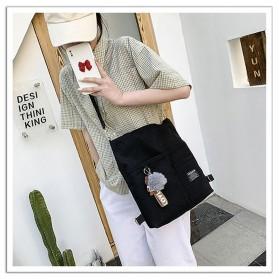 LKEEP Tas Selempang Tote Bag Wanita Korean Shoulder Bag Canvas - 443362 - Black