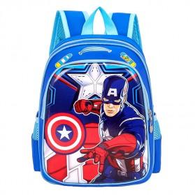 SUNEIGHT Tas Ransel Sekolah Anak Kartun Lucu Karakter Captain America - B302 - Black/Red - 2