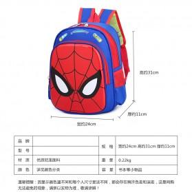 SUNEIGHT Tas Ransel Sekolah Anak Kartun Lucu Karakter Spiderman Face - B305 - Dark Blue - 7
