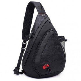 Dxyizu Tas Selempang Waistbag dengan USB Charger Port - Black
