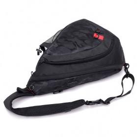 Dxyizu Tas Selempang Waistbag dengan USB Charger Port - Black - 3