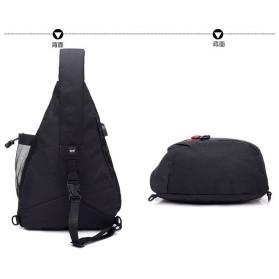 Dxyizu Tas Selempang Waistbag dengan USB Charger Port - Black - 7