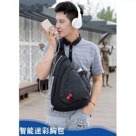 Dxyizu Tas Selempang Waistbag dengan USB Charger Port - Black - 12