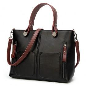 Tinkin Tas Selempang Tote Wanita Vintage Shoulder Bag - ZHB0543-E - Black
