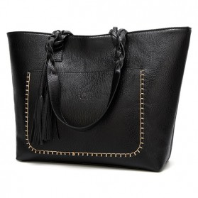 WEIMEIBAIGE Tas Selempang Tote Wanita Vintage Shoulder Bag - 963200 - Black