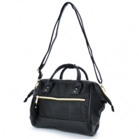 Anello Tas Selempang 2 Way Boston PU+Nylon Sling Bag - Black
