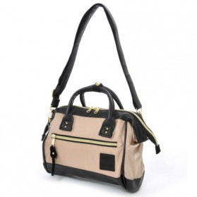 Anello Tas Selempang 2 Way Boston PU+Nylon Sling Bag - Beige