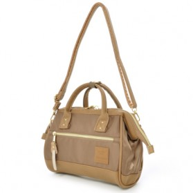 Anello Tas Selempang 2 Way Boston PU+Nylon Sling Bag - Brown