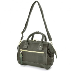 Anello Tas Selempang 2 Way Boston PU+Nylon Sling Bag - Khaki