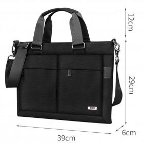 BUBM Tas Selempang Pria Messenger Bag Canvas for Laptop 13.3 Inch - 818 - FXQX-13 - Black - 3