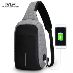 Mark Ryden Tas Selempang Anti Maling Crossbody Bag dengan USB Charger Port - MR5898 - Black/Gray