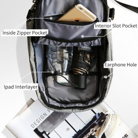 Mark Ryden Tas Selempang Anti Maling Crossbody Bag dengan USB Charger Port - MR5898 - Black/Gray - 3