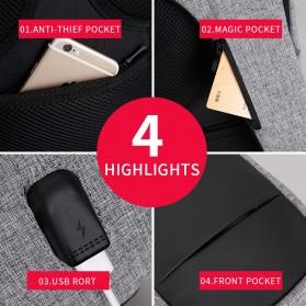 Mark Ryden Tas Selempang Anti Maling Crossbody Bag dengan USB Charger Port - MR5898 - Black/Gray - 4