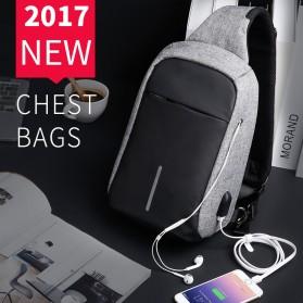 Mark Ryden Tas Selempang Anti Maling Crossbody Bag dengan USB Charger Port - MR5898 - Black/Gray - 5